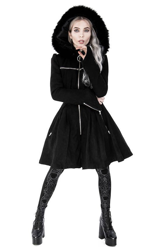Cross Zip Winter Coat with detachable Hood with faux fur