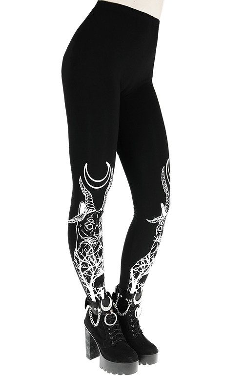 DEMONIC CAT LEGGINGS Black gothic leggings