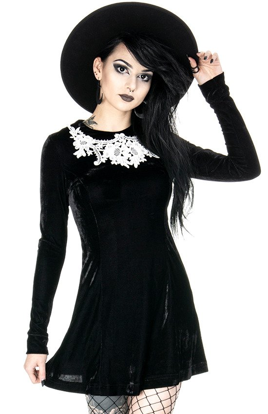 Dolly Dress Black Gothic Velvet
