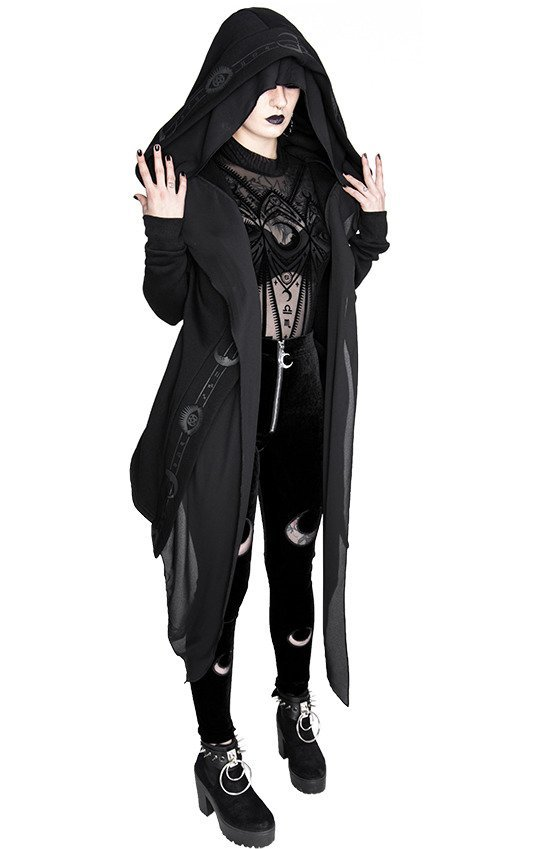 DOUBLE CRESCENT VELVET LEGGINGS gothic black leggings