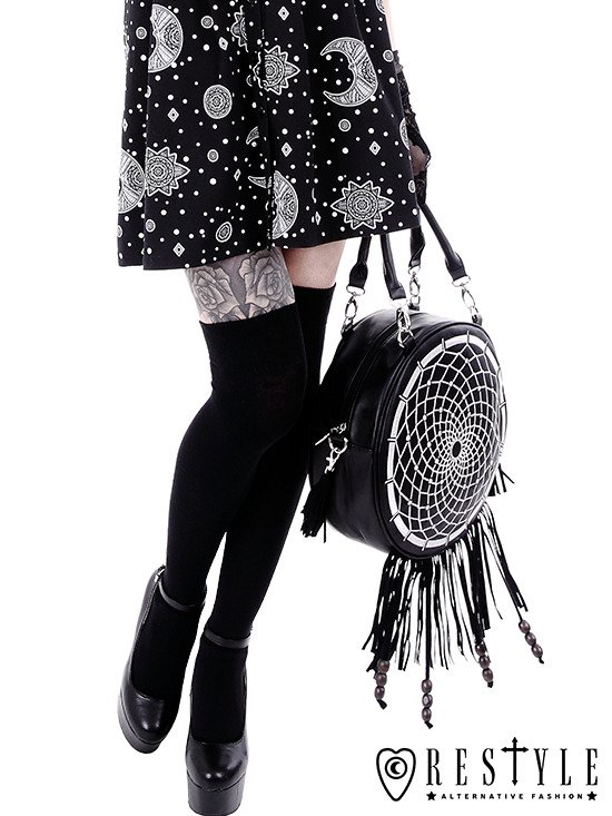 """DREAM CATCHER WHITE"" Gothic embroidery handbag, boho purse with fringe and tessels"