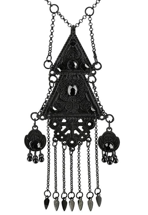 Double Triangle Necklace Black Pagan Pendant