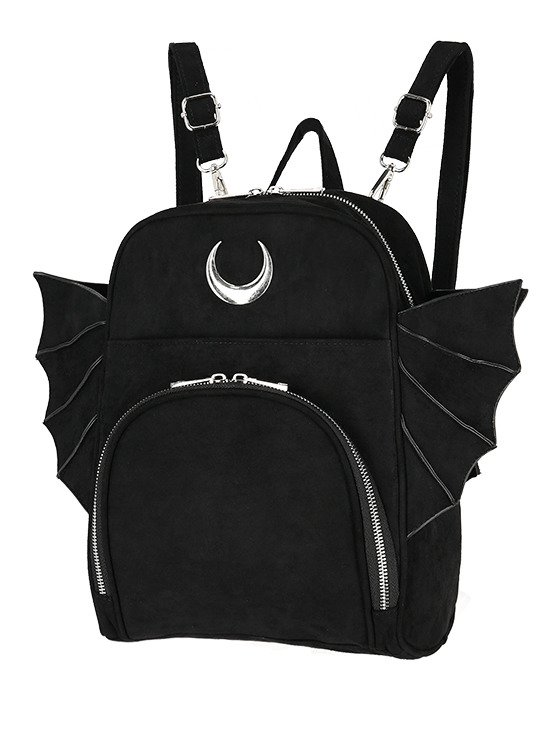 ELEGANT GOTH BACKPACK, gothic black woman school backpack with wings