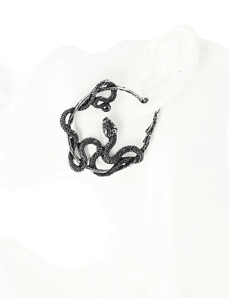 ENTWINE HOOPS Silver Snake Earrings