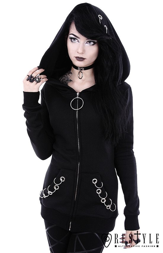 """EYELETS HOODIE"" Black jumper with O-rings, oversized hood"