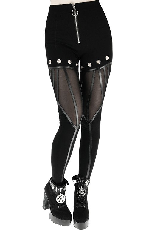 EYELETS LEGGINGS Black gothic leggings, leather straps, nugoth trousers