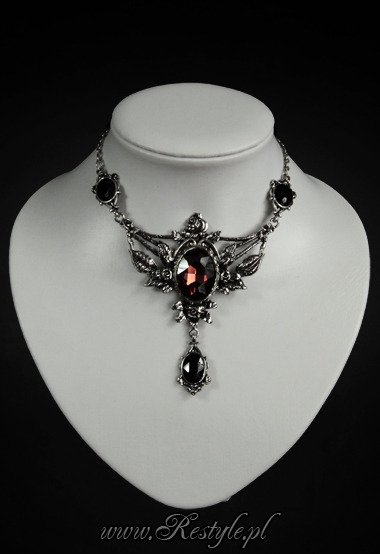 "Evening necklace roses and burgundy stone ""WILD ROSES"""