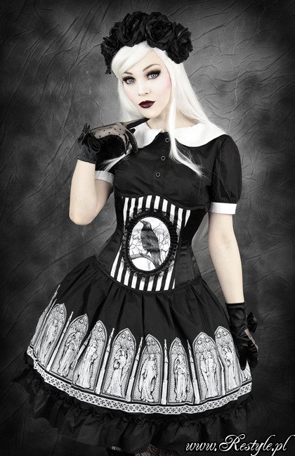 """FANTASY RAVEN"" black and white stripes cameo corset with crow"
