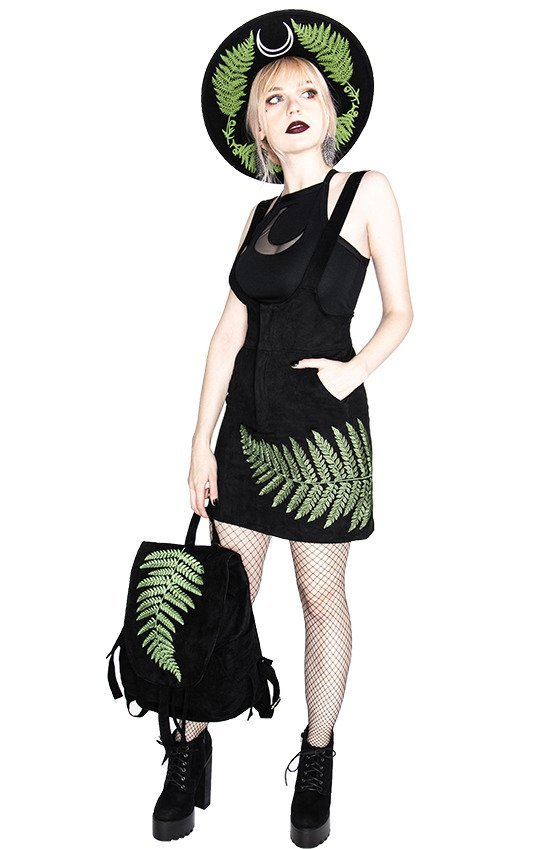FERN BACKPACK Vegan suede, forest witch sack