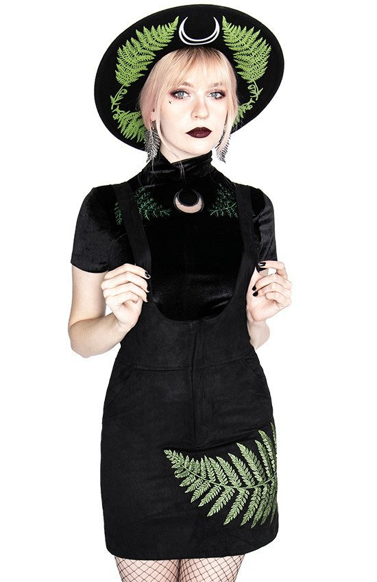 FERN SUEDE DRESS Black suspender dress with fern leaf