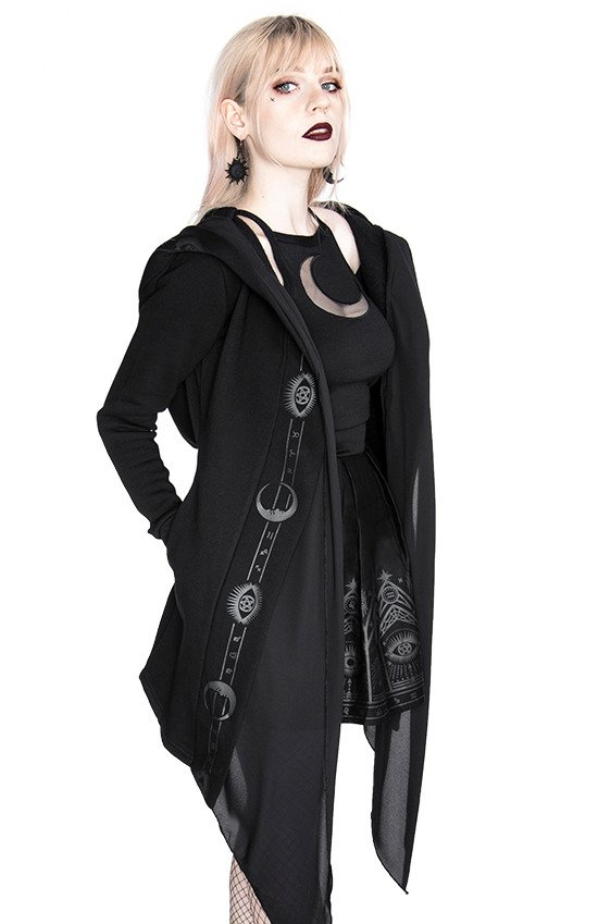 FORTUNE TELLER HOODIE black gothic hoodie with veil and symbols