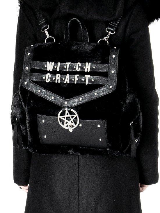 FUR WITCHCRAFT BACKPACK Black Gothic Bag with pentagram