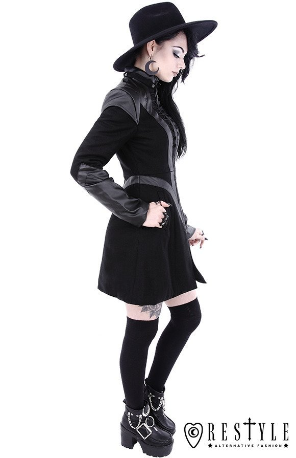 """FUTURE GOTH COAT"" Black winter jacket with pockets, detachable hood"