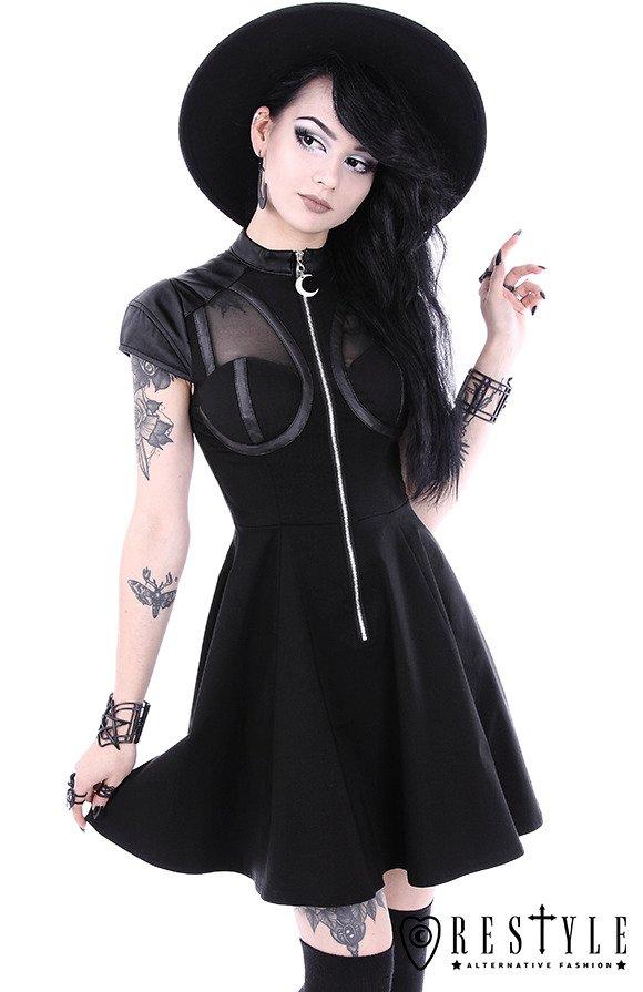 Black Gothic Dress Witchcraft Fashion Moon Zipper Future Goth