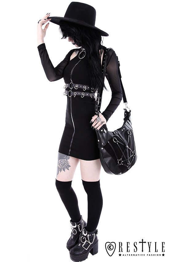 """RING COLLAR DRESS"" Black gothic pencil dress with ring collar"