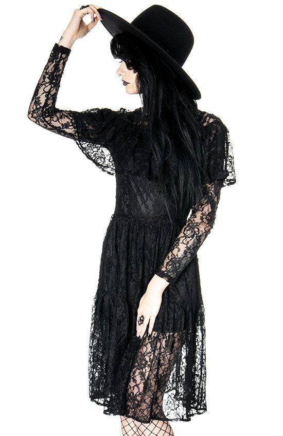 GLOOMY PRAIRIE Black Lace gothic dress