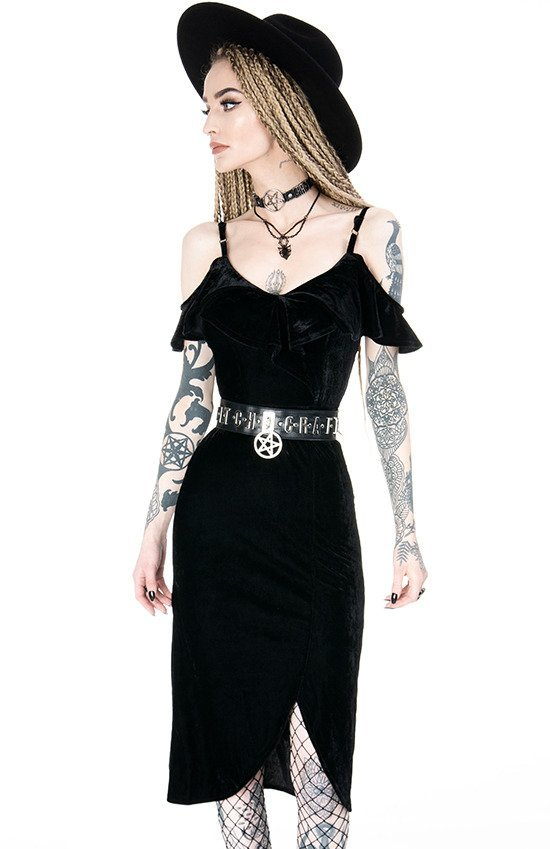 GLORIA DRESS Black gothic velvet dress cold shoulder