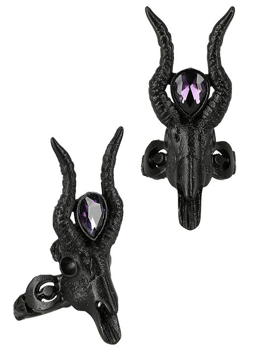 Gothic 3D Black CRESCENT SKULL Ring with opal