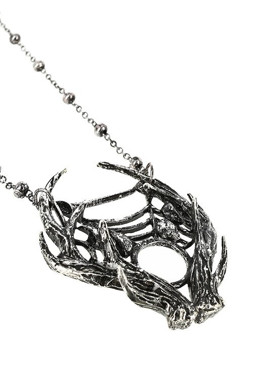 Gothic 3D MOON ANTLER with moon phases Silver Pendant