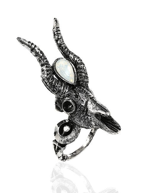 Gothic 3D Silver Crescent Skull Ring with opal