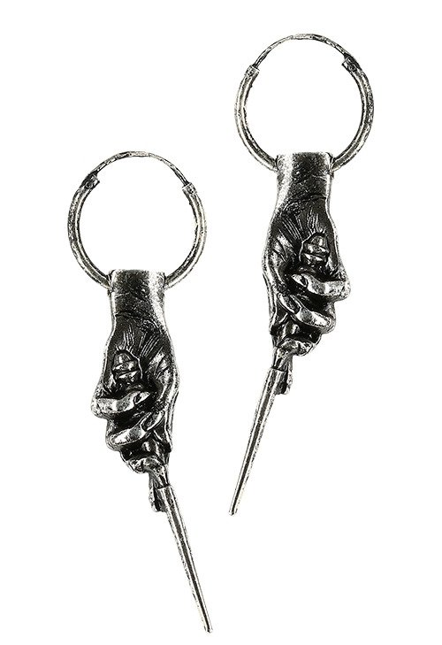 Gothic 925 Silver earrings MAGIC WAND HOOPS