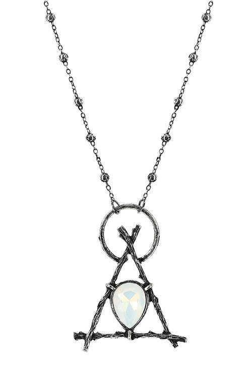 Gothic Branch Delta silver pendant with opal