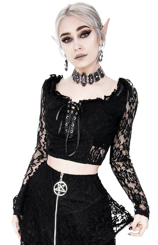 Gothic Cropped Lace Top with sweetheart neckline