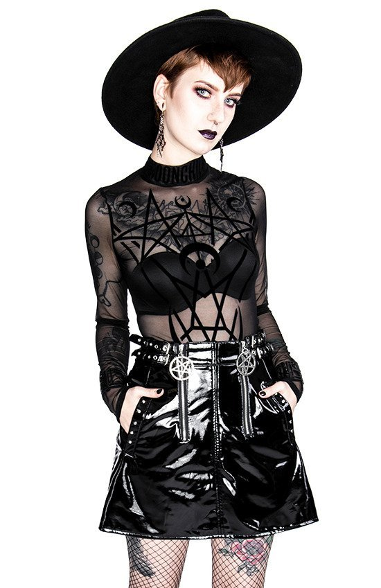 Gothic DOUBLE PENTAGRAM VINYL mini skirt