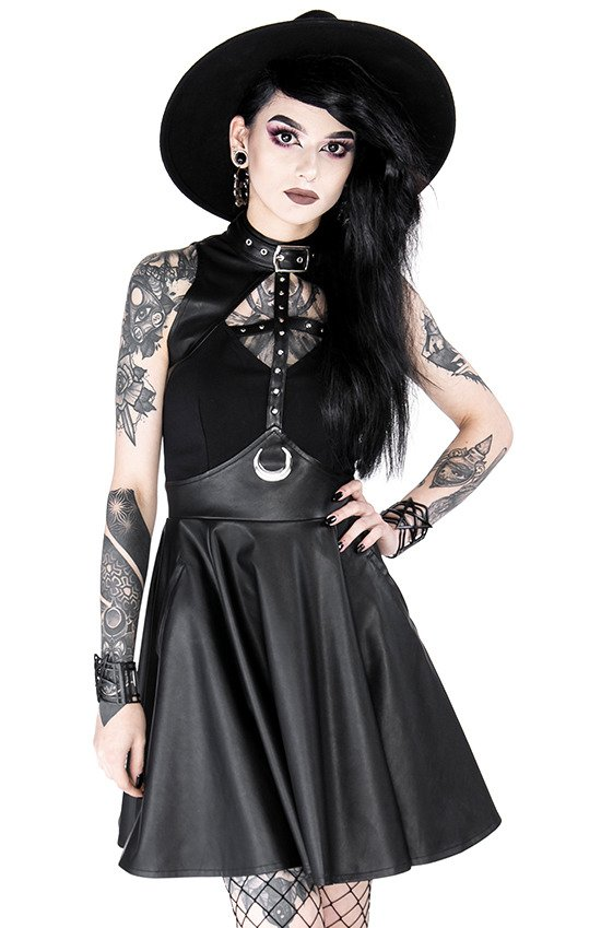 Gothic Davina Buckled Dress with collar and crescent moon