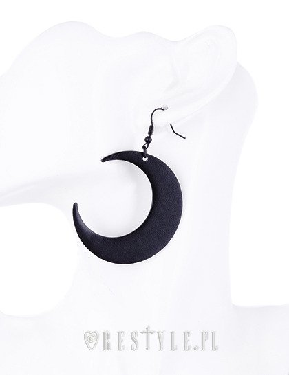 "Gothic Earrings, Crescent, occult fashion ""MOON BLACK EARRINGS"""