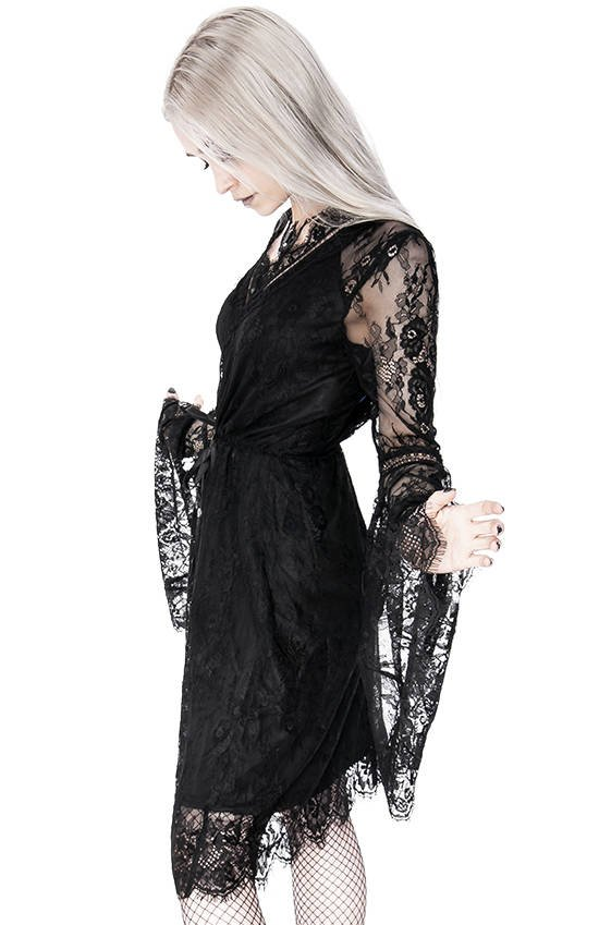 Gothic Eyelash Lace Dress Black