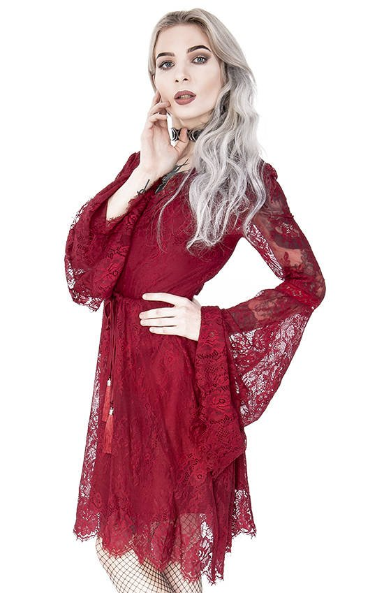 Gothic Eyelash Lace Dress Burgundy