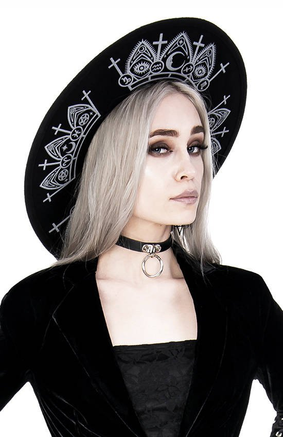 Gothic Fortune Teller Hat with wide brim, wool
