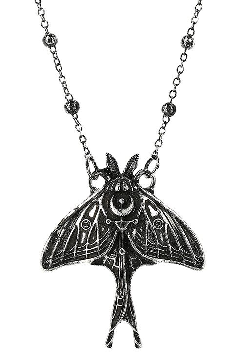 Gothic Silver MOON MOTH Pendant