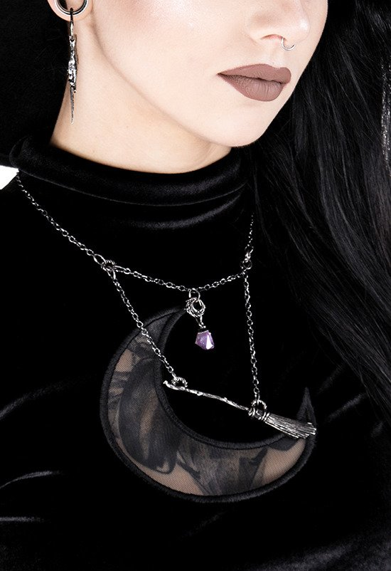 Gothic Witch Broomstick Silver Necklace with purple crystal