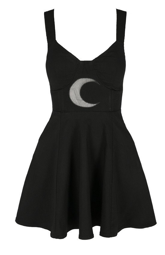 Gothic black classic dress with mesh crescent moon SHAPE OF THE MOON DRESS