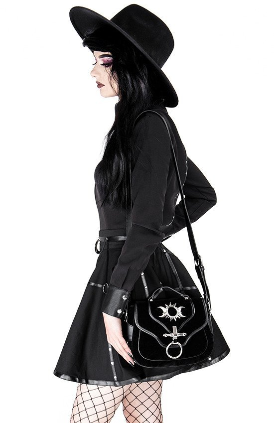 Gothic black harness circle MOON MISTRESS SKIRT