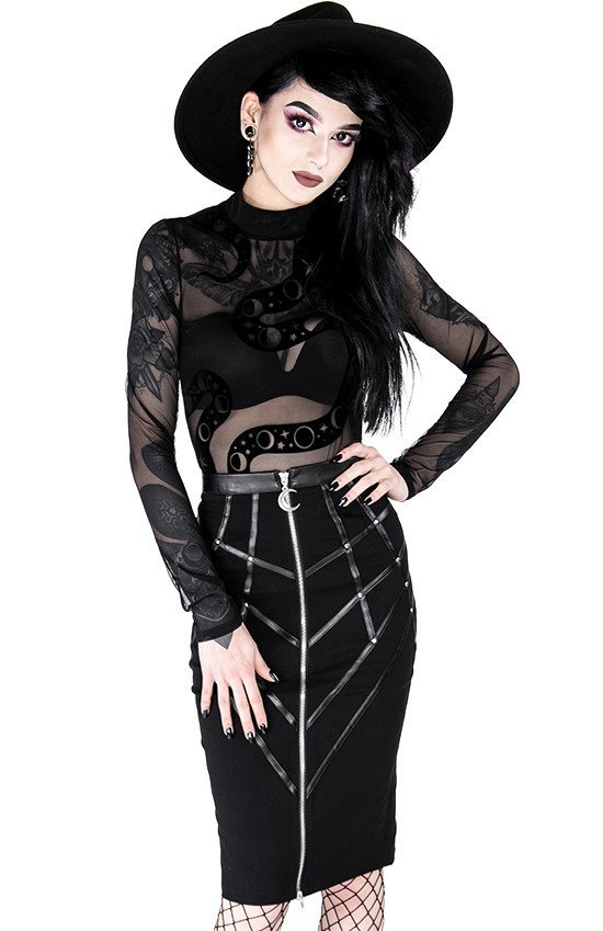 Gothic black harness pencil skirt BONDED TO THE MOON