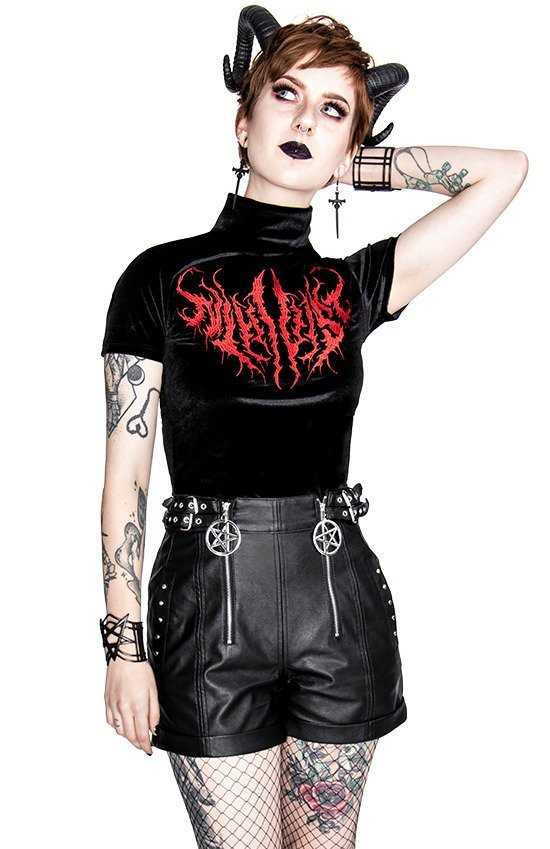 Gothic black high waist PU SHORTS with pentagrams