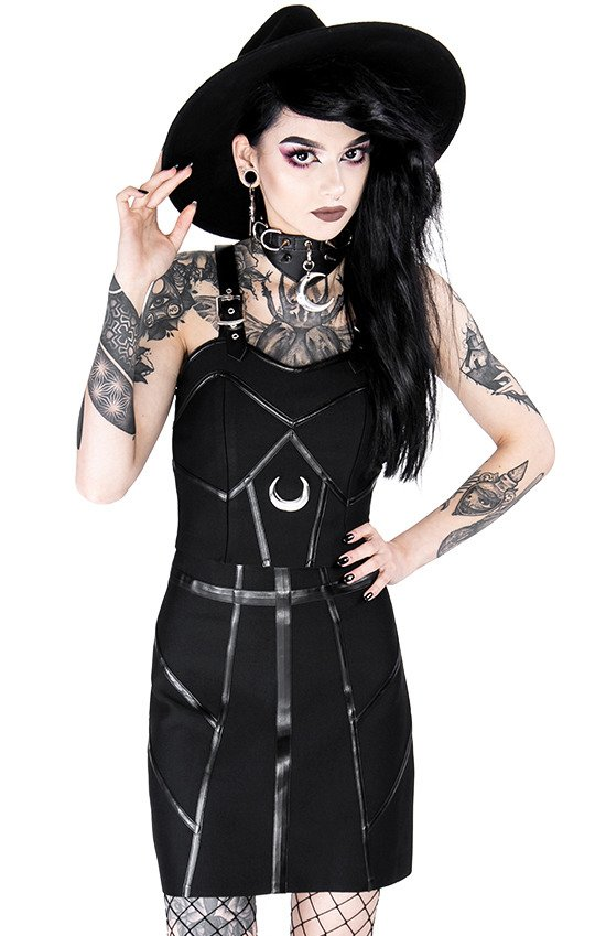 Gothic black short BANDAGE SKIRT with harness straps