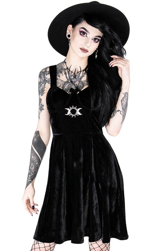 Gothic black velvet sweetheart TRIPLE GODDESS DRESS