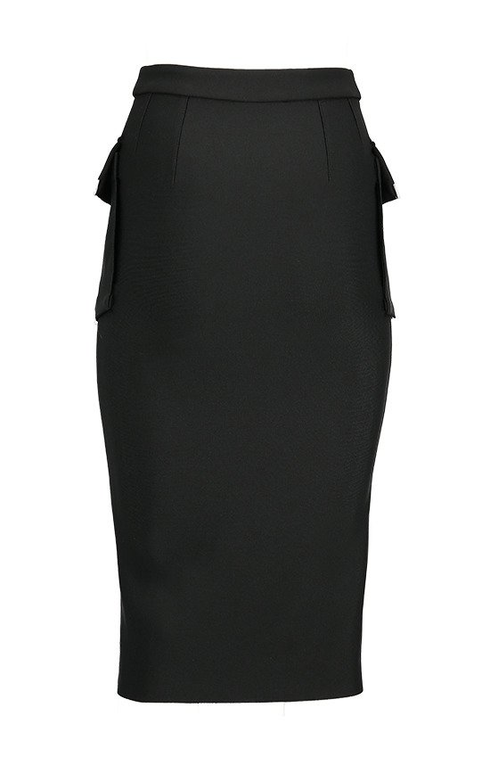 Gothic black woman pencil skirt with pockets UTILITY MIDI SKIRT