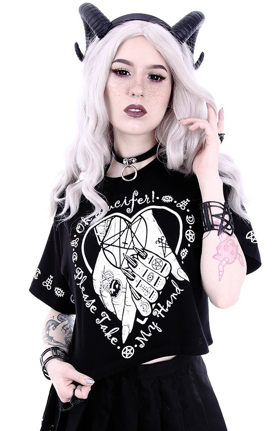 "Gothic blouse, occult t-shirt Crop Top ""OH LUCIFER"""