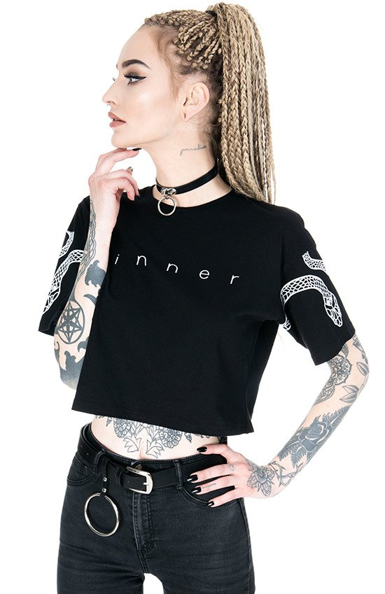 Gothic blouse, occult t-shirt SINNER  Crop Top with snakes