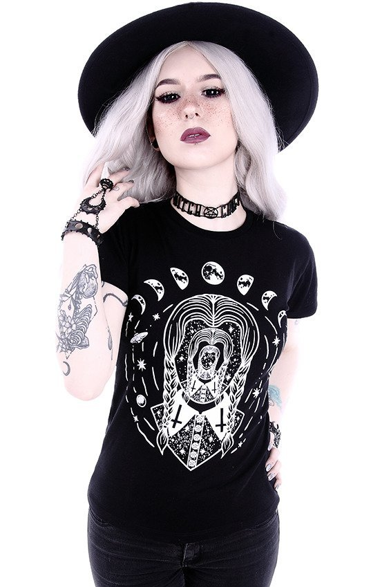 "Gothic blouse with wednesday Addams T-shirt ""TRIPPIN WEDNESDAY"""