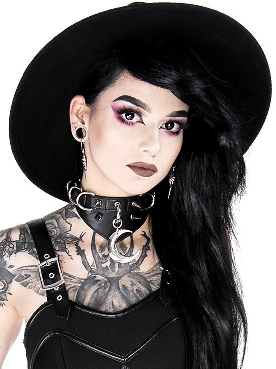 Gothic choker MOON AND D-RING COLLAR