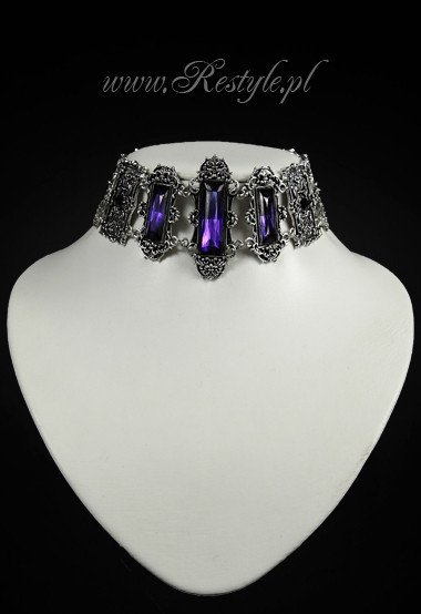 "Gothic choker, victorian necklace, rectangle stones ""VIVIAN VIOLET"""
