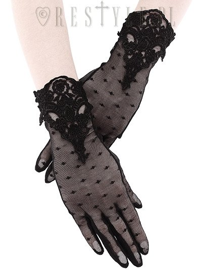 "Gothic dotted gloves with lace decoration, romantic ""Guipure Gloves"""