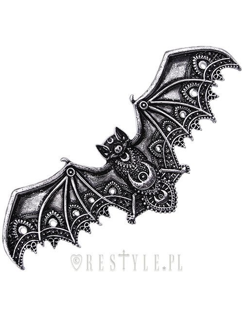 "Gothic hair barrette crescent bat, occult jewellery ""LACE BAT SILVER HAIRCLIP"""