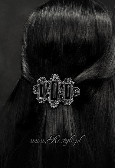 "Gothic hairclip ""VIVIAN BLACK"" victorian hair barrette, rectangle stones"
